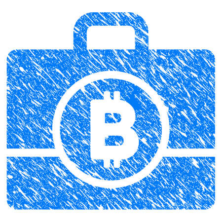 Grunge Bitcoin Case icon with grunge design and unclean texture. Unclean raster blue pictogram for rubber seal stamp imitations and watermarks. Draft sign symbol. Stock Photo