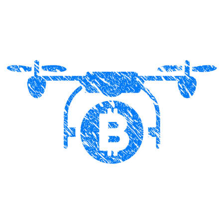 Grunge Bitcoin Copter icon with grunge design and unclean texture. Unclean raster blue pictogram for rubber seal stamp imitations and watermarks. Draft sign symbol.