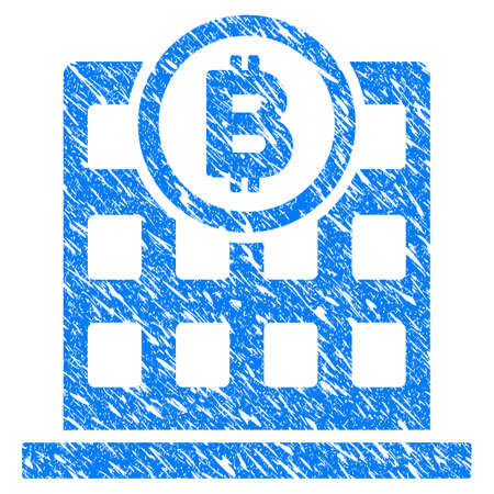 Grunge Bitcoin Corporation Building icon with grunge design and dust texture. Unclean raster blue pictogram for rubber seal stamp imitations and watermarks. Draft sticker symbol.