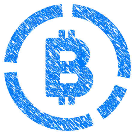 Grunge Bitcoin Diagram icon with grunge design and dirty texture. Unclean raster blue pictogram for rubber seal stamp imitations and watermarks. Draft sign symbol.