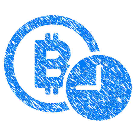 Grunge Bitcoin Credit Clock icon with grunge design and unclean texture. Unclean raster blue pictogram for rubber seal stamp imitations and watermarks. Draft emblem symbol.