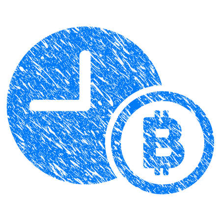 Grunge Bitcoin Credit Clock icon with grunge design and dirty texture. Unclean raster blue pictogram for rubber seal stamp imitations and watermarks. Draft sign symbol.