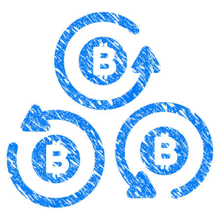 Grunge Bitcoin Mixer Rotation icon with grunge design and unclean texture. Unclean raster blue pictogram for rubber seal stamp imitations and watermarks. Draft sticker symbol.