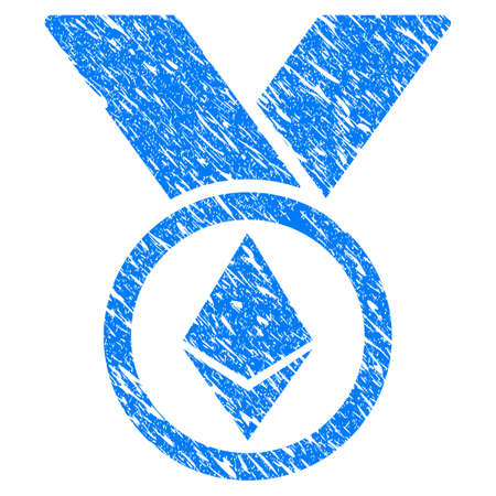 Grunge Ethereum Award Medal icon with grunge design and dirty texture. Unclean raster blue pictogram for rubber seal stamp imitations and watermarks. Draft sign symbol. Stock Photo