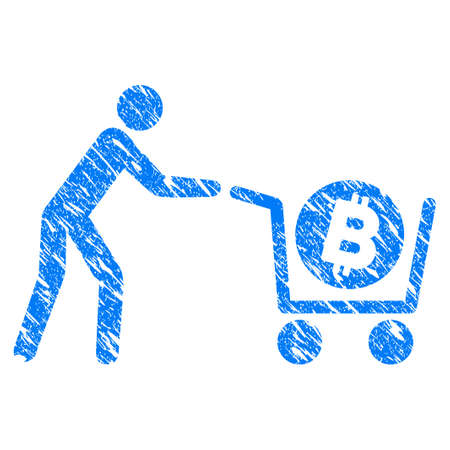 Grunge Bitcoin Purchase Cart icon with grunge design and dust texture. Unclean raster blue pictogram for rubber seal stamp imitations and watermarks. Draft sticker symbol.