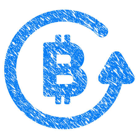 Grunge Bitcoin Refund icon with grunge design and dirty texture. Unclean raster blue pictogram for rubber seal stamp imitations and watermarks. Draft sign symbol. Stock Photo