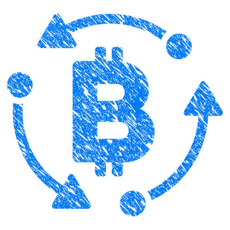 Grunge Bitcoin Rotation icon with grunge design and unclean texture. Unclean raster blue pictogram for rubber seal stamp imitations and watermarks. Draft sticker symbol.