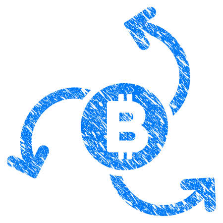 Grunge Bitcoin Source Swirl icon with grunge design and dirty texture. Unclean raster blue pictogram for rubber seal stamp imitations and watermarks. Draft sticker symbol.