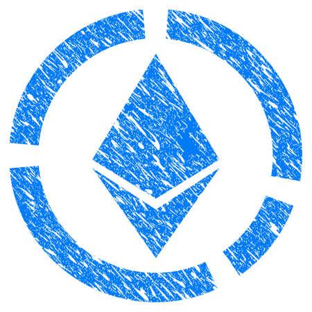 グランジ デザインと傷テクスチャ グランジ Ethereum サークル図アイコン。ゴム製シール切手の模造品と透かしの汚れたラスター ブルー ピクト。ドラ