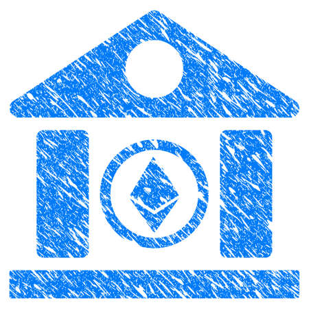 Grunge Ethereum Corporation Building icon with grunge design and scratched texture. Unclean raster blue pictogram for rubber seal stamp imitations and watermarks. Draft sticker symbol. Stock Photo