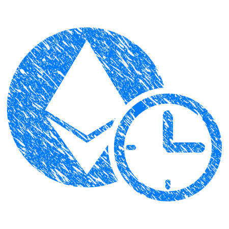 Grunge Ethereum Credit Time icon with grunge design and dust texture. Unclean raster blue pictogram for rubber seal stamp imitations and watermarks. Draft sign symbol.