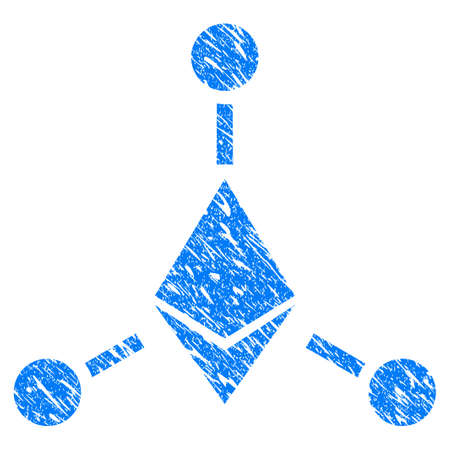 Grunge Ethereum Links icon with grunge design and dirty texture. Unclean raster blue pictogram for rubber seal stamp imitations and watermarks. Draft sticker symbol. Stock Photo