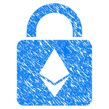 Grunge Ethereum Lock icon with grunge design and scratched texture. Unclean raster blue pictogram for rubber seal stamp imitations and watermarks. Draft sticker symbol.