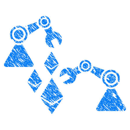 Grunge Ethereum Mine Robotics icon with grunge design and dirty texture. Unclean raster blue pictogram for rubber seal stamp imitations and watermarks. Draft emblem symbol.