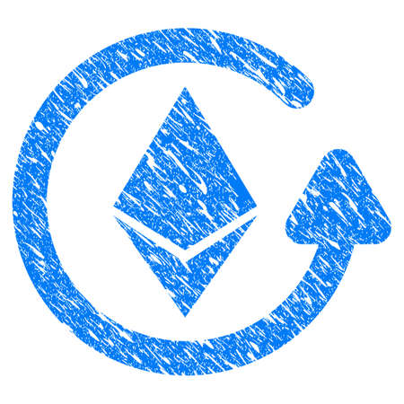 reverse: Grunge Ethereum Refund icon with grunge design and scratched texture. Unclean raster blue pictogram for rubber seal stamp imitations and watermarks. Draft sticker symbol. Stock Photo