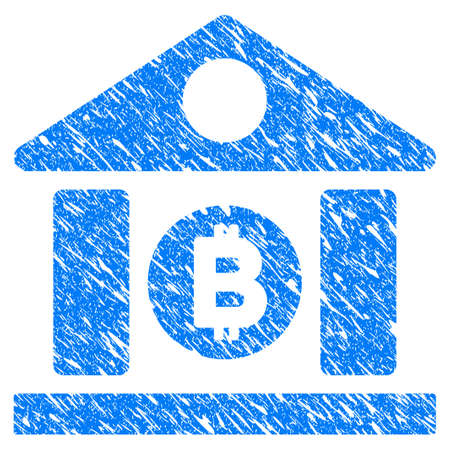 Grunge Bitcoin Bank Building icon with grunge design and dust texture. Unclean vector blue pictogram for rubber seal stamp imitations and watermarks. Draft sign symbol. Illustration