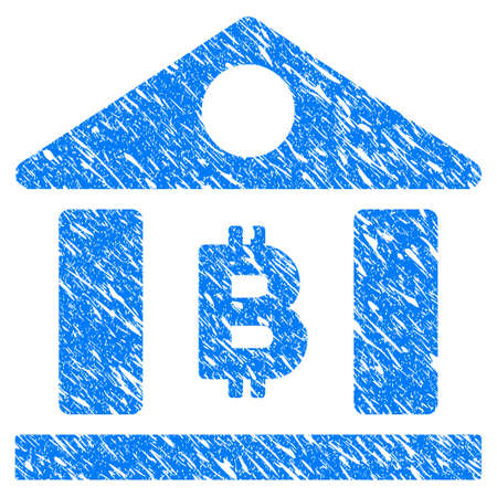 Grunge Bitcoin Bank Building icon with grunge design and scratched texture. Unclean vector blue pictogram for rubber seal stamp imitations and watermarks. Draft sign symbol.