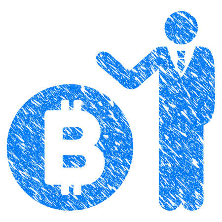 Grunge Bitcoin Banker icon with grunge design and dirty texture. Unclean vector blue pictogram for rubber seal stamp imitations and watermarks. Draft sign symbol. Illustration