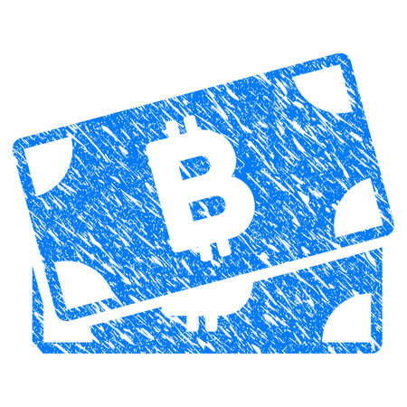 Grunge Bitcoin Banknotes icon with grunge design and scratched texture. Unclean vector blue pictogram for rubber seal stamp imitations and watermarks. Draft emblem symbol. Illustration