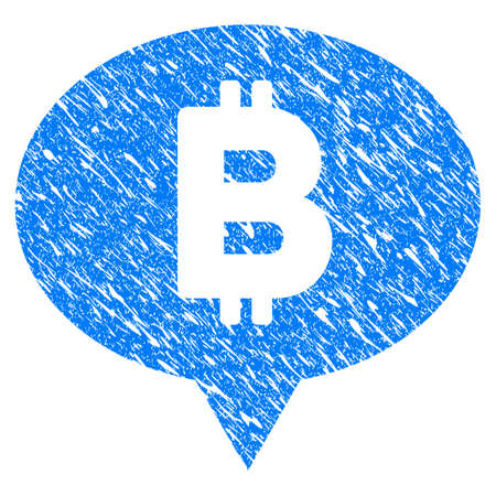 Grunge Bitcoin Banner Balloon icon with grunge design and scratched texture. Unclean vector blue pictogram for rubber seal stamp imitations and watermarks. Draft sign symbol. Illustration