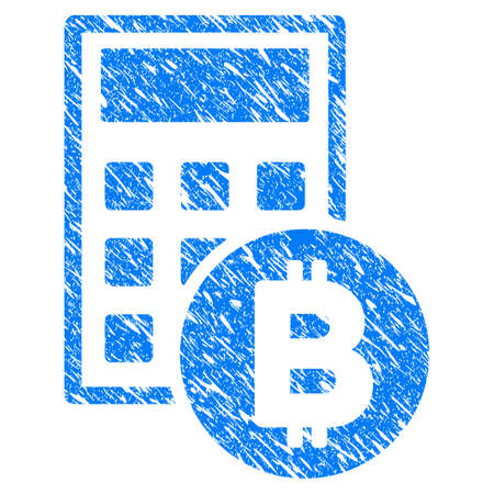 Grunge Bitcoin Calculator icon with grunge design and scratched texture. Unclean vector blue pictogram for rubber seal stamp imitations and watermarks. Draft emblem symbol.