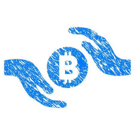 Grunge Bitcoin Care Hands icon with grunge design and dirty texture. Unclean vector blue pictogram for rubber seal stamp imitations and watermarks. Draft emblem symbol. Illustration