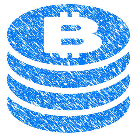 Grunge Bitcoin Coin Column icon with grunge design and unclean texture. Unclean vector blue pictogram for rubber seal stamp imitations and watermarks. Draft sign symbol.