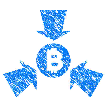 Grunge Bitcoin Collect Arrows icon with grunge design and scratched texture. Unclean vector blue pictogram for rubber seal stamp imitations and watermarks. Draft sticker symbol.