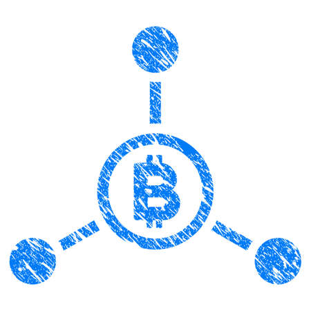 Grunge Bitcoin Connections icon with grunge design and dust texture. Unclean vector blue pictogram for rubber seal stamp imitations and watermarks. Draft sign symbol.