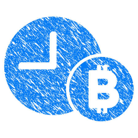 Grunge Bitcoin Credit Clock icon with grunge design and scratched texture. Unclean vector blue pictogram for rubber seal stamp imitations and watermarks. Draft sticker symbol.
