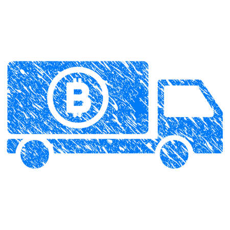 Grunge Bitcoin Delivery Truck icon with grunge design and unclean texture. Unclean vector blue pictogram for rubber seal stamp imitations and watermarks. Draft sign symbol.