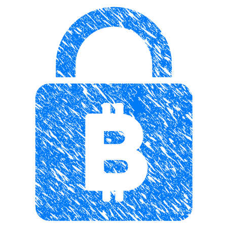 Grunge Bitcoin Lock icon with grunge design and scratched texture. Unclean vector blue pictogram for rubber seal stamp imitations and watermarks. Draft sticker symbol.