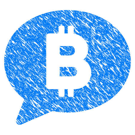 Grunge Bitcoin Message Balloon icon with grunge design and dust texture. Unclean vector blue pictogram for rubber seal stamp imitations and watermarks. Draft emblem symbol.