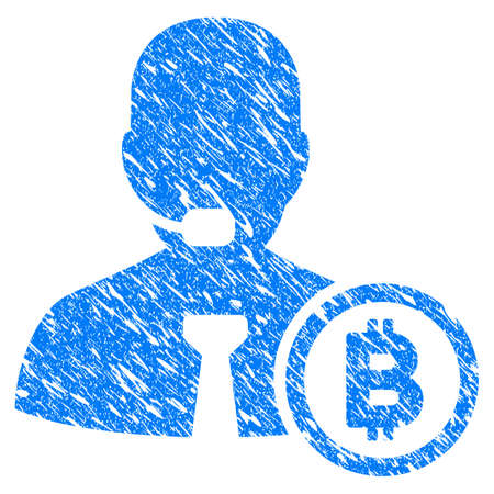 Grunge Bitcoin Operator Manager icon with grunge design and unclean texture. Unclean vector blue pictogram for rubber seal stamp imitations and watermarks. Draft emblem symbol.