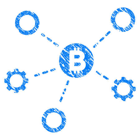 Grunge Bitcoin Network Nodes icon with grunge design and unclean texture. Unclean vector blue pictogram for rubber seal stamp imitations and watermarks. Draft sign symbol.