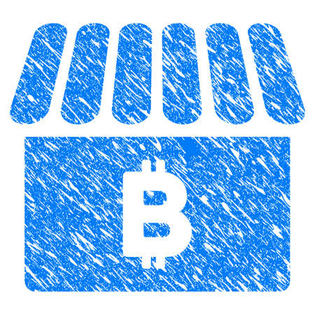 Grunge Bitcoin Shop icon with grunge design and scratched texture. Unclean vector blue pictogram for rubber seal stamp imitations and watermarks. Draft sign symbol.