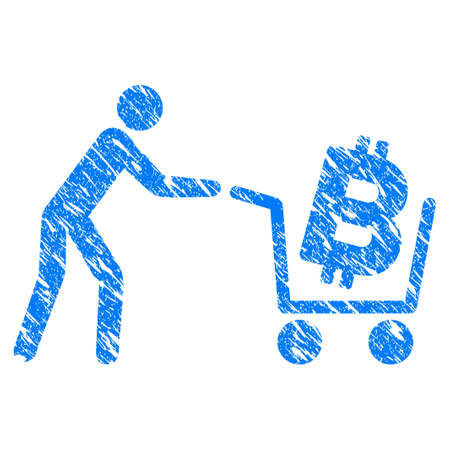 Grunge Bitcoin Shopping Cart icon with grunge design and unclean texture. Unclean vector blue pictogram for rubber seal stamp imitations and watermarks. Draft sign symbol. Illustration