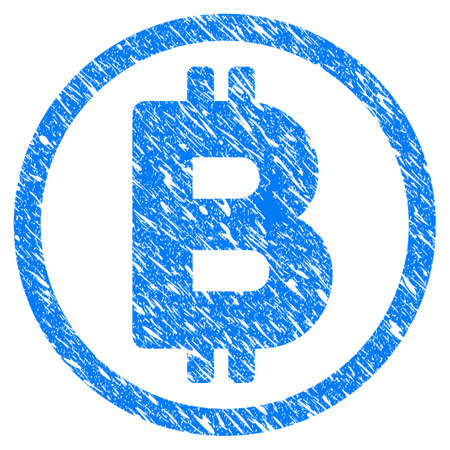 Grunge Bitcoin Rounded icon with grunge design and dirty texture. Unclean vector blue pictogram for rubber seal stamp imitations and watermarks. Draft sign symbol. Illustration