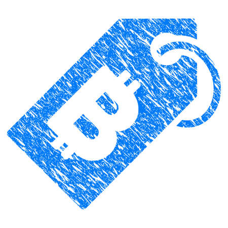 Grunge Bitcoin Tag icon with grunge design and dust texture. Unclean vector blue pictogram for rubber seal stamp imitations and watermarks. Draft emblem symbol.