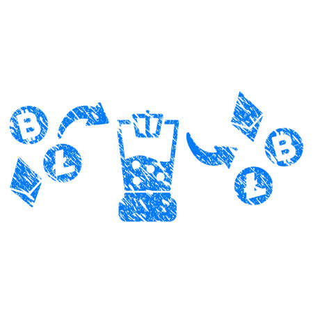 Grunge Cryptocurrency Mixer icon with grunge design and dust texture. Unclean vector blue pictogram for rubber seal stamp imitations and watermarks. Draft sign symbol.