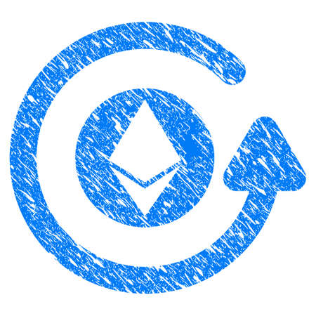 Grunge Ethereum Chargeback icon with grunge design and scratched texture. Unclean vector blue pictogram for rubber seal stamp imitations and watermarks. Draft sign symbol.