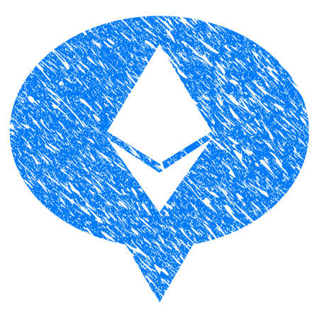 Grunge Ethereum Banner Balloon icon with grunge design and scratched texture. Unclean vector blue pictogram for rubber seal stamp imitations and watermarks. Draft emblem symbol.