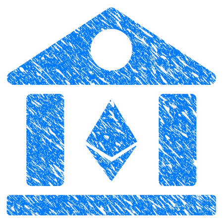 Grunge Ethereum Bank Building icon with grunge design and dust texture. Unclean vector blue pictogram for rubber seal stamp imitations and watermarks. Draft sticker symbol.