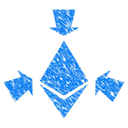Grunge Ethereum Collect Arrows icon with grunge design and dust texture. Unclean vector blue pictogram for rubber seal stamp imitations and watermarks. Draft sticker symbol.