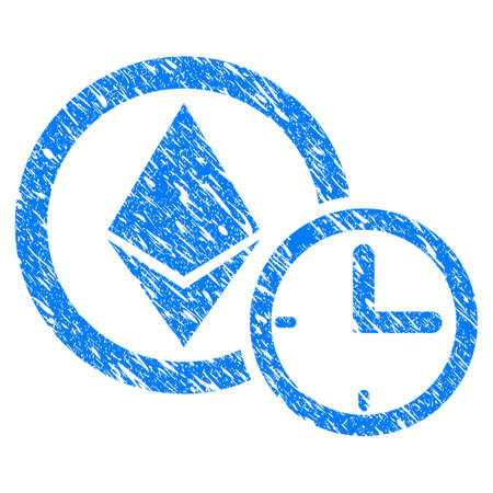Grunge Ethereum Credit Clock icon with grunge design and scratched texture. Unclean vector blue pictogram for rubber seal stamp imitations and watermarks. Draft emblem symbol.