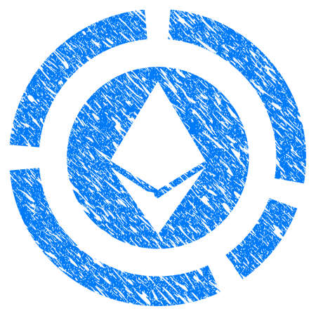 Grunge Ethereum Diagram icon with grunge design and unclean texture. Unclean vector blue pictogram for rubber seal stamp imitations and watermarks. Draft emblem symbol.