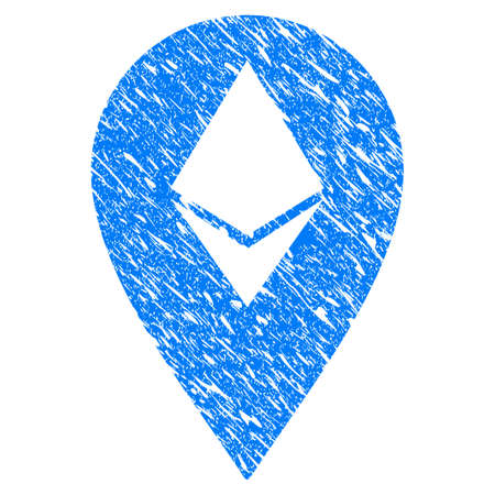 Grunge Ethereum Marker icon with grunge design and dirty texture. Unclean vector blue pictogram for rubber seal stamp imitations and watermarks. Draft sticker symbol. Illustration