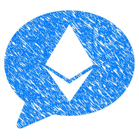 Grunge Ethereum Message Balloon icon with grunge design and dust texture. Unclean vector blue pictogram for rubber seal stamp imitations and watermarks. Draft emblem symbol.