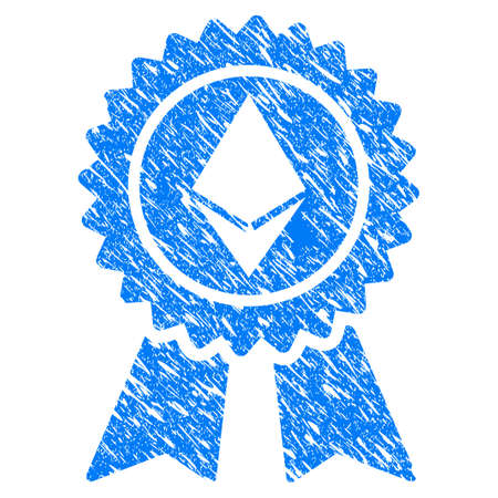 Grunge Ethereum Reward Seal icon with grunge design and dust texture. Unclean vector blue pictogram for rubber seal stamp imitations and watermarks. Draft emblem symbol.