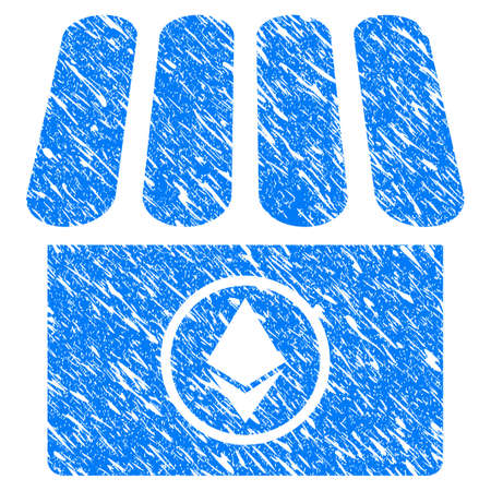 Grunge Ethereum Shop icon with grunge design and dust texture. Unclean vector blue pictogram for rubber seal stamp imitations and watermarks. Draft sticker symbol.